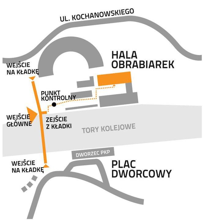 mapa Jak dotrzeć do hali obrabiarek - Festiwal Przestrzeni Miejskiej