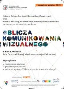 """Plakat Semianarium """"Oblicza komunikowania wizualnego"""" 3 marca Kielnarowa"""