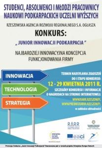 Plakat konkursu Junior Innowacji Podkarpacia 2011
