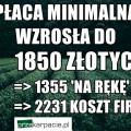 """Najniższa pensja od 2016 roku wynosi 1850 zł brutto czyli 1355 """"na rękę"""""""